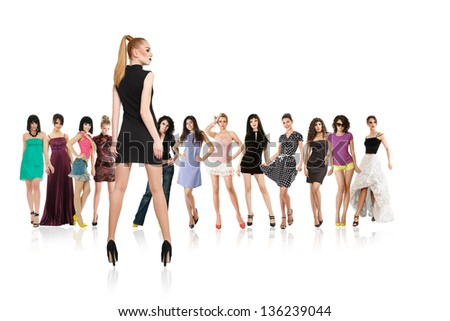 Large group of young women and one opposition against other isolated over white background - stock photo