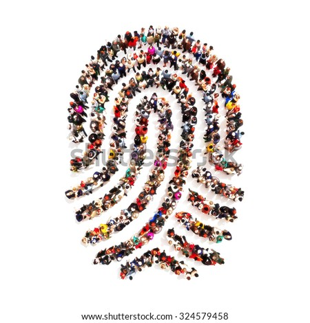 Large group pf people in the shape of a fingerprint on an isolated white background. People finding there identity, identity theft, individuality concept. - stock photo