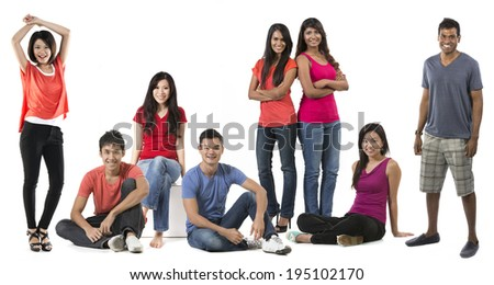 Large Group Portrait of a happy Asian people. Isolated on white background. - stock photo