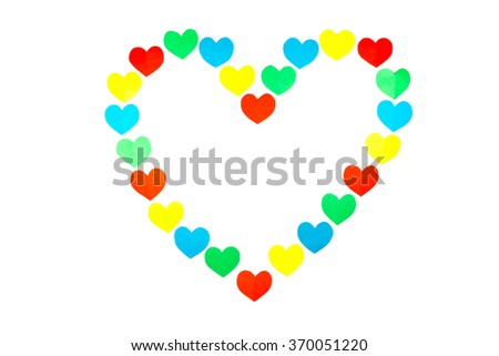 Large heart shape  built of little colored hearts isolated on white background