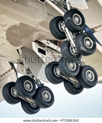 Large heavy passenger cargo airplane main landing gear detail exterior close up aerial view