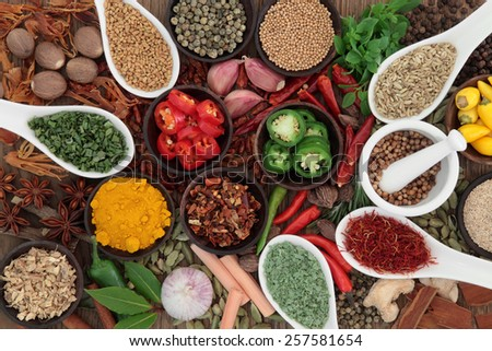 Large herb and spice selection in porcelain spoons and bowls with mortar and pestle. - stock photo