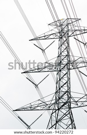 Large high-voltage towers - stock photo