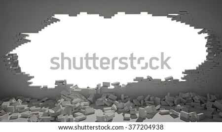 large hole in the wall with white isolation - stock photo
