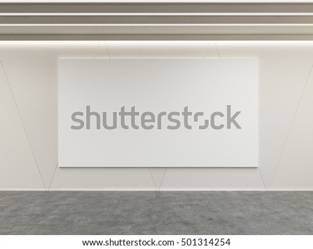 Large horizontal poster is hanging on the wall of room with concrete floor. Concept of advertising. Mock up