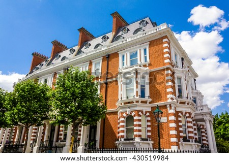Large house in London's wealthy neighborhood Notting Hill. - stock photo