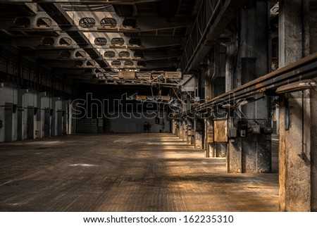 Large industrial hall of a repair station - stock photo