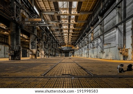 Large industrial hall of a vehicle repair station