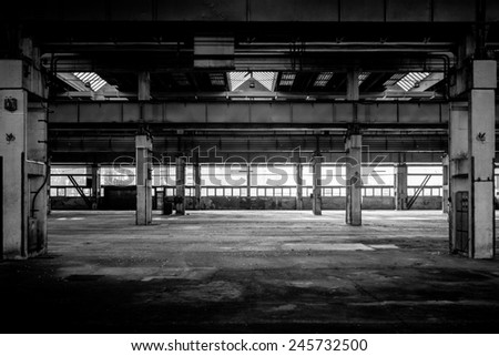 Large industrial hall of a vehicle repair station - stock photo