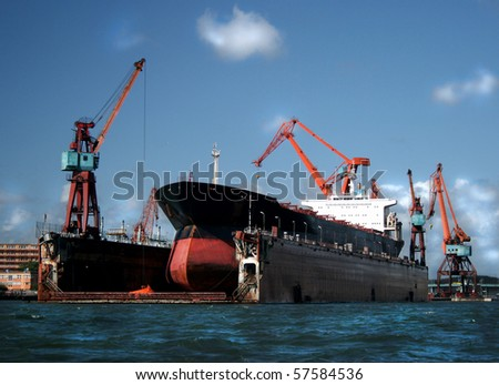 Large industrial shipping harbour in Gothenburg, Sweden - stock photo