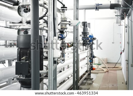 Large industrial water treatment and boiler room