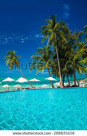 Large infinity swimming pool on the beach with palm trees and umbrellas - stock photo