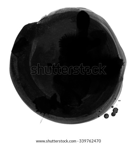 Large ink spot with paint texture isolated on white background. Saturated black color. Hand drawn background for logo, banner and print design. - stock photo