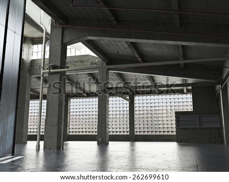 Large Interior grunge framed warehouse with an empty floor. Photo realistic 3d scene - stock photo