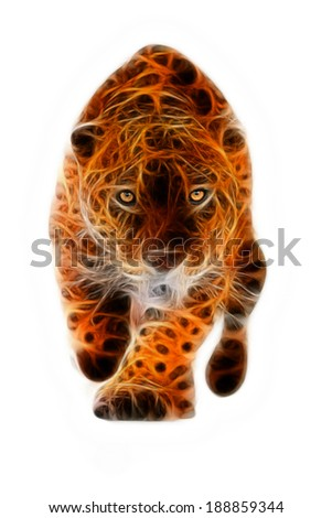 LARGE JAGUAR MALE PERFORMING AN ATTACK, WITH HIS FEROCIOUS LOOK STRAIGHT TO YOUR EYES ISOLATED ON WHITE  - stock photo