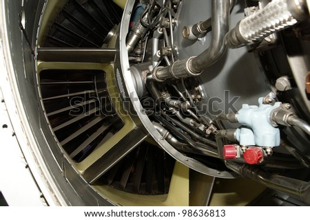 Large jet engine detail viewed from below (other views available).