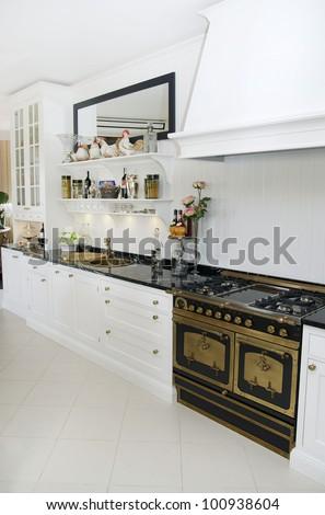 large kitchen - stock photo