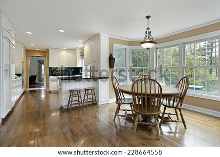 Large kitchen with eating area - stock photo