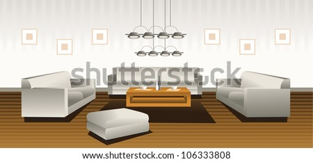 Large living room - stock photo