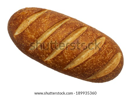 Large Loaf of French Bread Top View Isolated on White Background. - stock photo