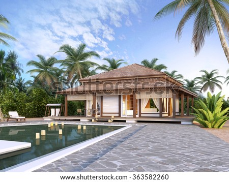 Large luxury bungalows on the islands. 3D render.  - stock photo