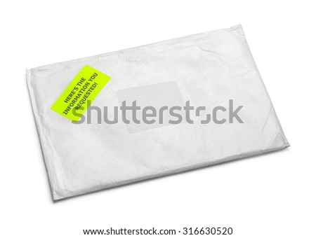 Large Mail Packet with Copy Space Isolated on White Background.