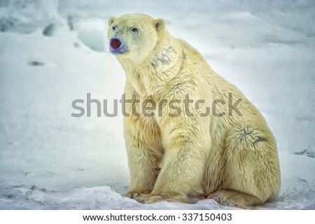 Large male polar bear sitting on snow in Canadian Arctic.Photo art