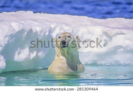 Large male polar bear surfaces in ice floe, digital oil painting - stock photo