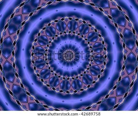 Large mandala in bright shades of blue. - stock photo