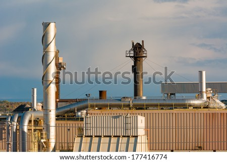 Large Manufacturing Industrial Building with Large Steam Towers