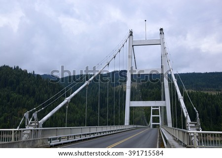 Large metal bridge over a large river