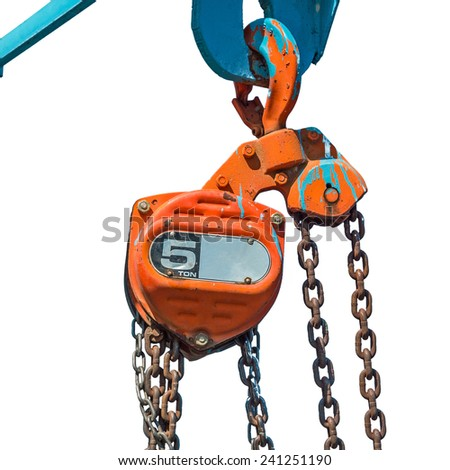 Large metal hook and chains attached to a pulley Isolated on white background. - stock photo