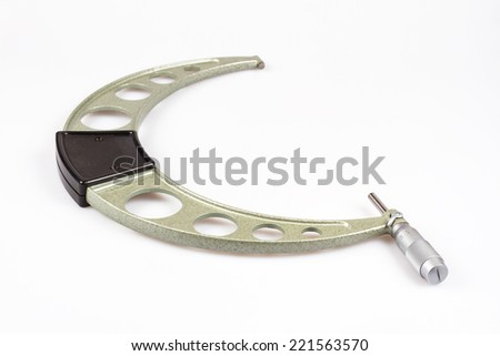 Large micrometer on white background (measuring range 225-250 mm) - stock photo