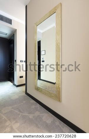 Large mirror in hotel lobby