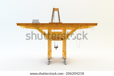 Large mobile container Cargo harbor crane isolated on white - stock photo