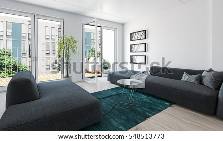 Large Modern Luxury Condo Living Room Interior With Grey Upholstered  Couches And Glass Doors Leading To Part 83