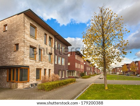 Large Modern Middle Class Terraced Houses in Europe - stock photo