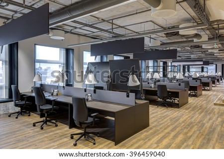 Large modern office with open space to work - stock photo