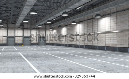 Large modern storehouse with some goods for use in presentations, education manuals, design, etc.