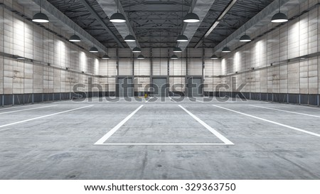 Large modern storehouse with some goods for use in presentations, education manuals, design, etc. - stock photo