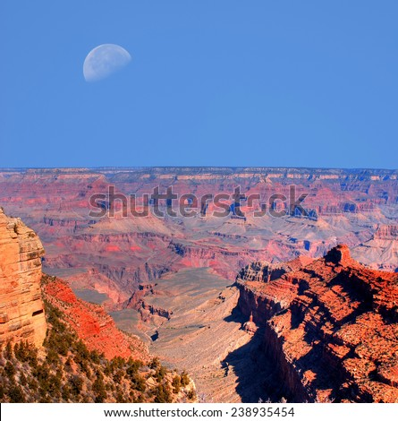 Large moon afternoon in the Grand Canyon - stock photo