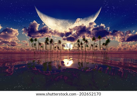 large moon over pink sunset. Elements of this image furnished by NASA - stock photo