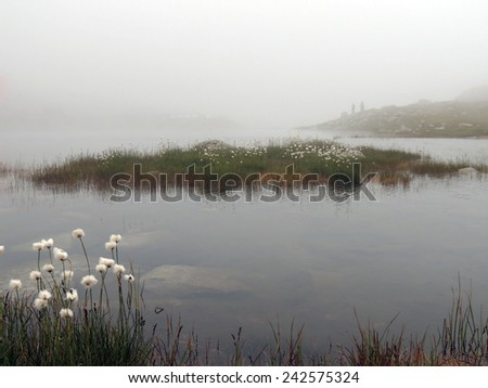 Large Mountain Lake in Fog - stock photo