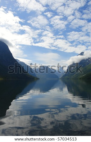 large mountain lake with snowed mountains in the background, norway