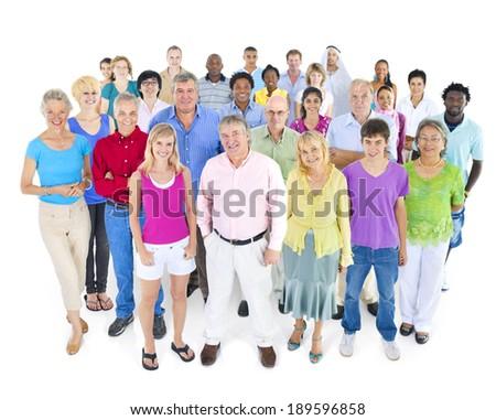 large multi-ethnic group of people - stock photo