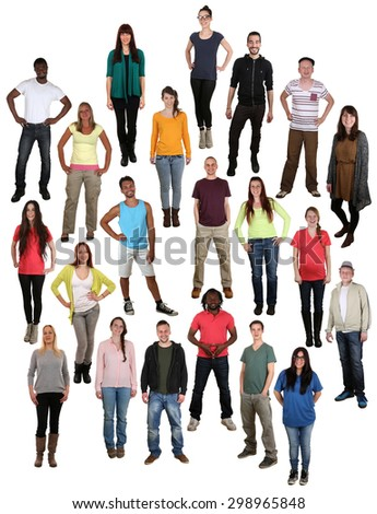 Large multi ethnic group of smiling happy young people background isolated - stock photo