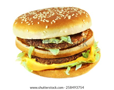 large multilayer tasty burger on a white background - stock photo