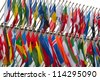 large number of national flags flying - stock photo