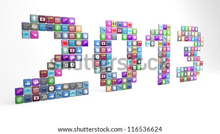 Large number of smartphone app icons displaying the year 2013.  Note to reviewer:  icon graphics are designed by the contributor. - stock photo