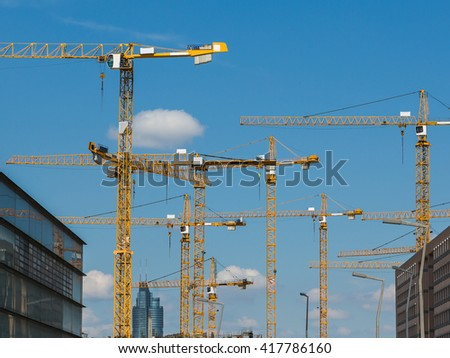 Large numbers of Cranes at a construction site during the day.